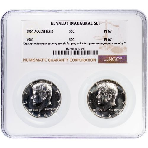 Set of 2: 1964 Accented Hair & 1964 Type 2 Kennedy Half Dollar PF67