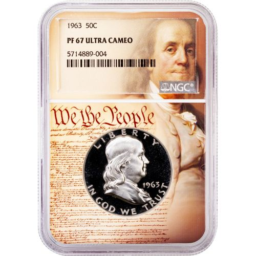 1963-P Franklin Half Dollar PF67 Ultra Cameo We The People Collection Label