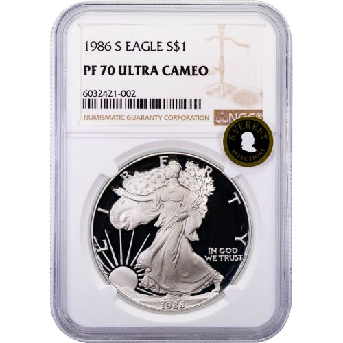 1986-S American Silver Eagle NGC PF70 Ultra Cameo Everest