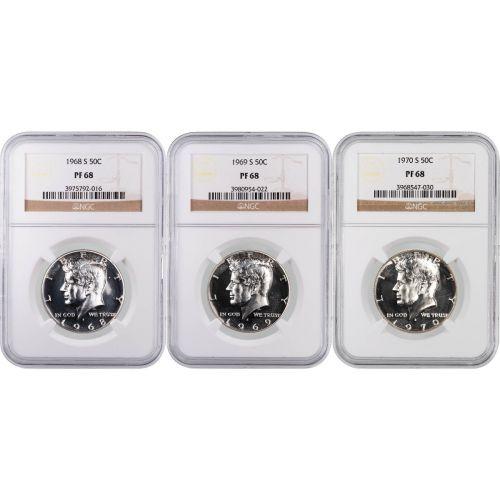 Set of 3: 1968-S-1970-S Kennedy Half Dollars NGC PF68