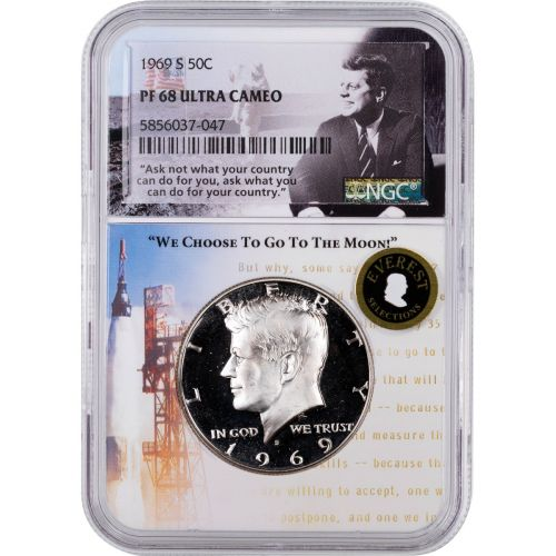1969-S Kennedy Half Dollar NGC PF68UCAM Everest Aspiration Label