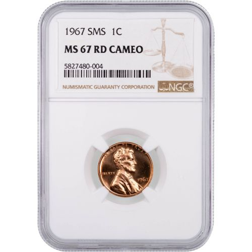 1967 SMS Lincoln Cent MS67RD Cameo