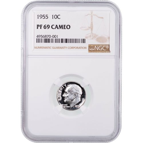 1955 Roosevelt Dime NGC PF69 Cameo