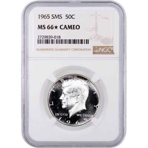 1965 SMS Kennedy Half Dollar NGC MS66 Star Cameo