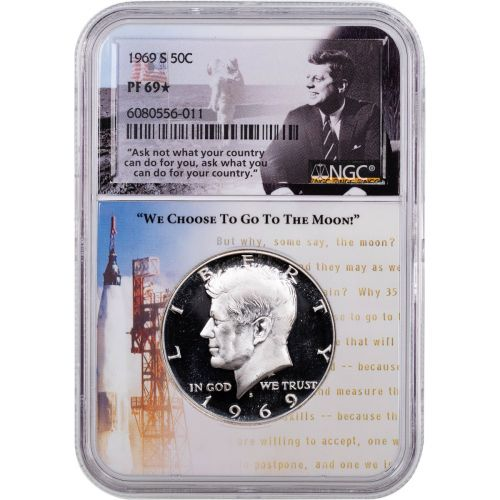 1969-S Kennedy Half Dollar NGC PF69 Star Aspiration Label
