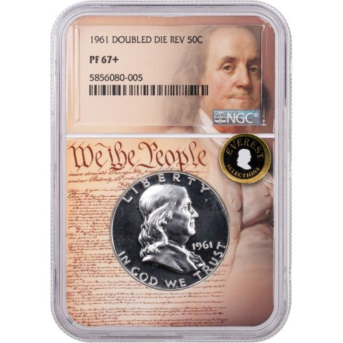 1961 Franklin Half Dollar NGC PF67+ Double Die Reverse Everest We the People Label