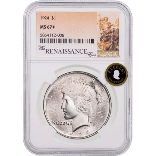 1924-P Peace Dollar NGC MS67+ Everest