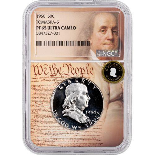 1950 Franklin Half Dollar NGC PF65 UCAM RT 5 We the People Label Everest