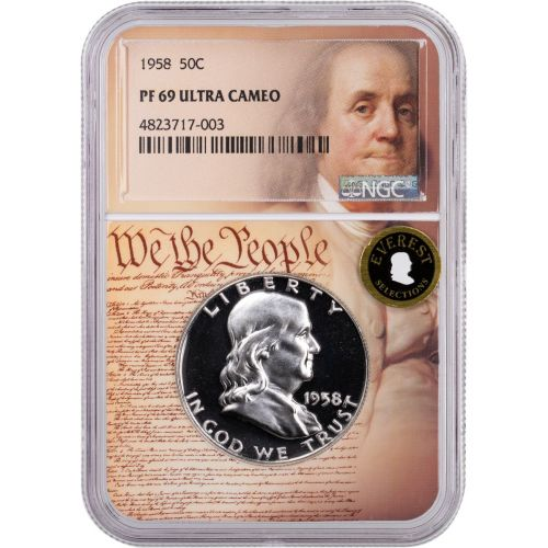 1958 Franklin Half Dollar NGC PF69UCAM We the People Label Everest