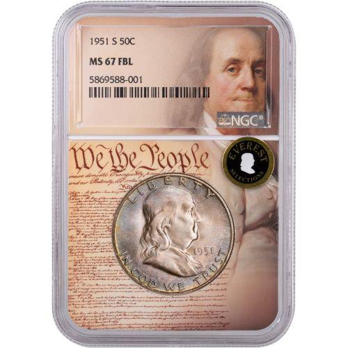 1951-S Franklin Half Dollar NGC MS67 FBL We the People Label Everest Toned