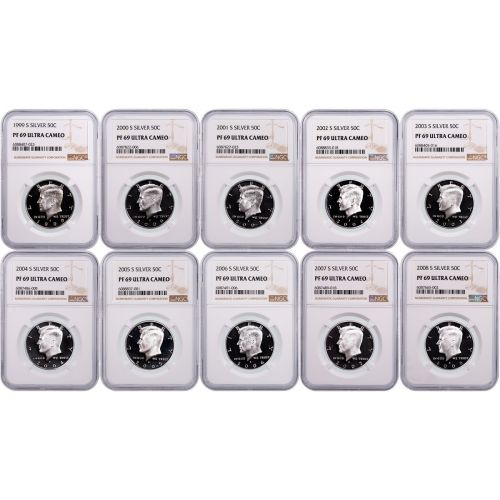 Set of 10: 1999-S to 2008-S Silver Kennedy Half Dollars NGC PF69UCAM includes free Hard Cover Franklin and Kennedy Book