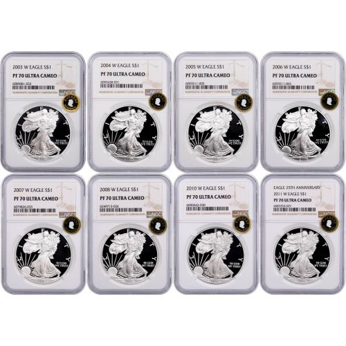 Set of 8: 2003-W - 2011-W American Silver Eagles NGC PF70UCAM Everest