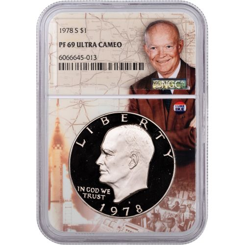 1978-S Eisenhower Dollar NGC PF69UCAM I Like Ike Label