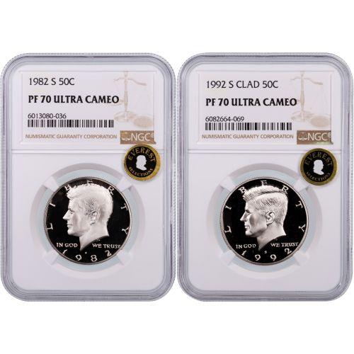 Set of 2: 1982-S & 1992-S Kennedy Half Dollars NGC PF70UCAM Everest