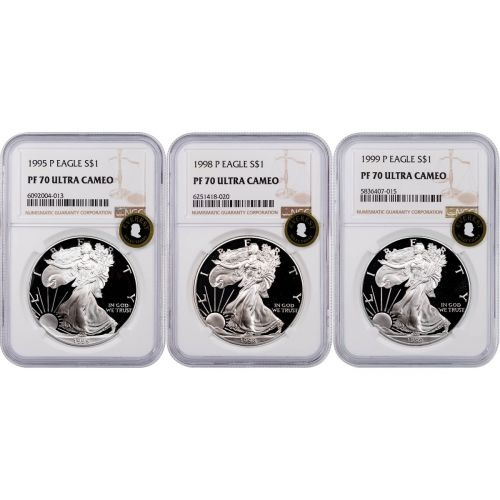 Set of 3: 1995-P, 1998-P & 1999-P American Silver Eagles NGC PF70UCAM Everest
