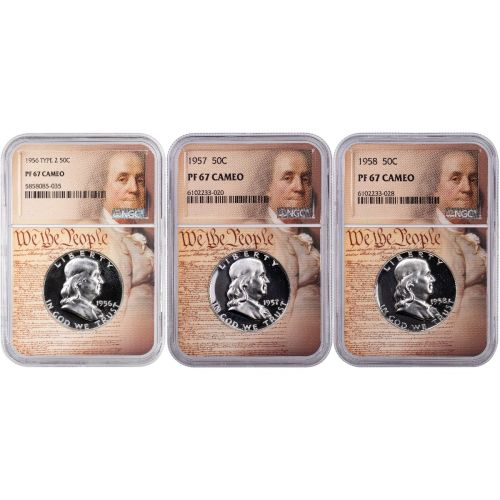 Set of 3: 1956-1958 Franklin Half Dollars NGC PF67 Cameo We the People Labels