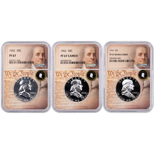 Set of 3: 1962 Franklin Half Dollars NGC PF67, 67 Cameo, and 67UCAM Everest We the People Labels With Signed 3rd Edition Franklin and Kennedy Soft Cover Book