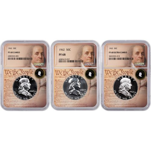 Set of 3: 1962 Franklin Half Dollars NGC PF68, 68 Cameo, and 68UCAM Everest We the People Labels With Signed 3rd Edition Franklin and Kennedy Soft Cover Book