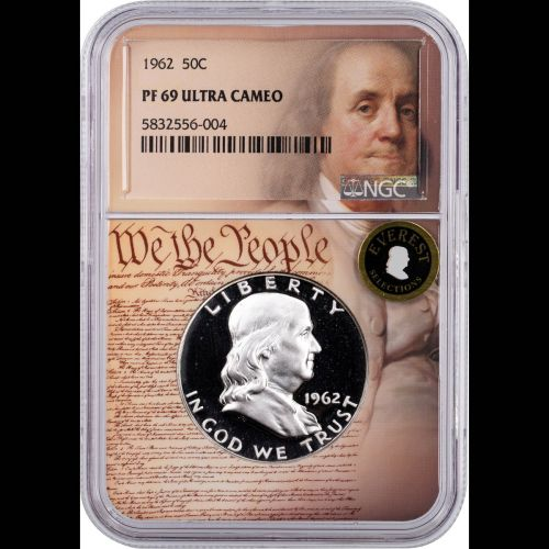 1962 Franklin Half Dollar NGC PF69UCAM Everest We the People Label With individual coin box