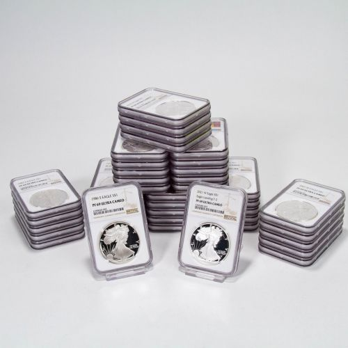 Set of 41: 1986-S - 2021-W Type 2 American Silver Eagles NGC PF69UCAM Everest includes 2012-S - 2020-S