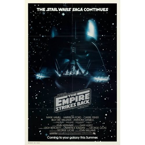 """""""The Empire Strikes Back"""" 1980 Advance Folded One Sheet Poster Very Fine+"""