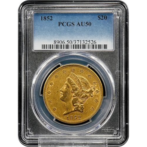 1852-P Liberty Head Gold Double Eagle AU50