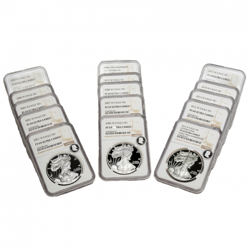 Set of 15: 2001-2016-W West Point Mint American Silver Eagles PF69 Ultra Cameo ECC