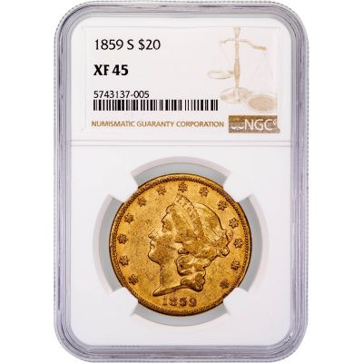 1859-S Liberty Head Gold Double Eagle XF45