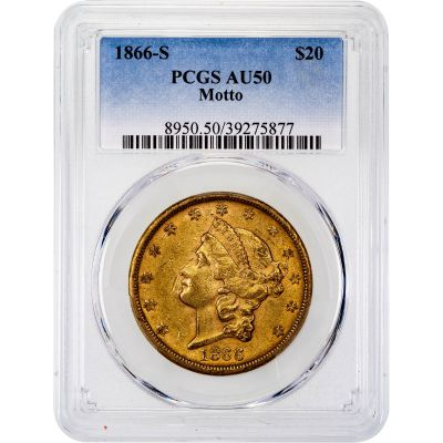 1866-S With Motto Liberty Head Gold Double Eagle AU50