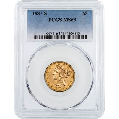 1887-S Liberty Head Gold Half Eagle MS63