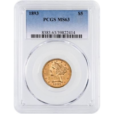 1893-P Liberty Head Gold Half Eagle MS63
