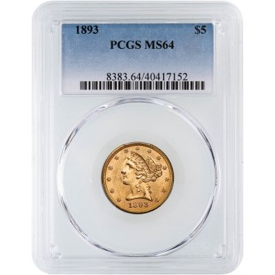 1893-P Liberty Head Gold Half Eagle MS64