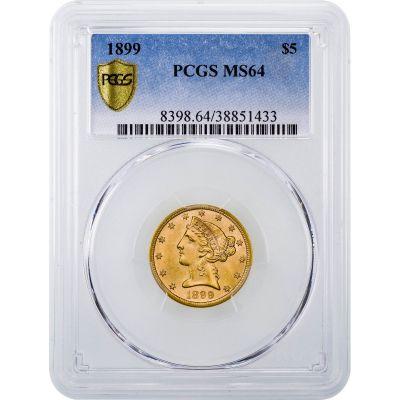 1899-P Liberty Head $5 Gold Half Eagle MS64
