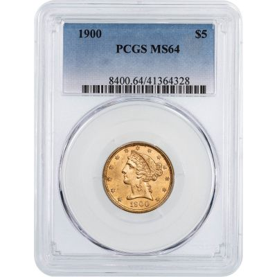 1900-P Liberty Head Gold $5 Half Eagle MS64