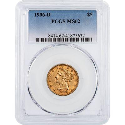 1906-D Liberty Head $5 Gold Half Eagle MS62