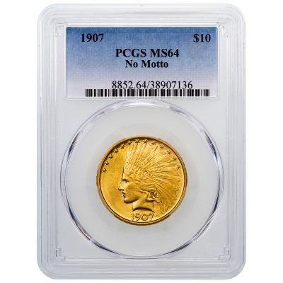 1907-P Indian Head Gold Eagle No Motto MS64