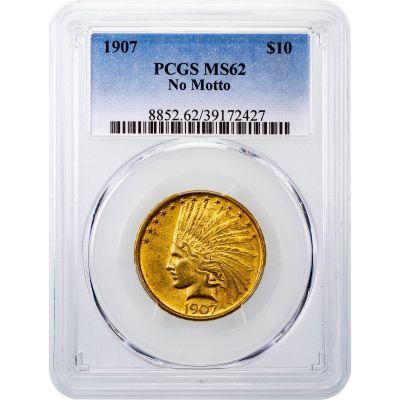 1907-P Indian Head Gold Eagle No Motto MS62