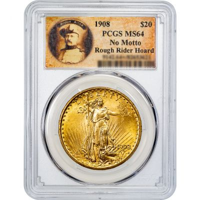 1908-P No Motto Saint-Gaudens Gold Double Eagle MS64
