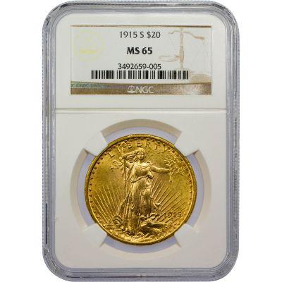 1915-S Saint-Gaudens Gold Double Eagle MS65
