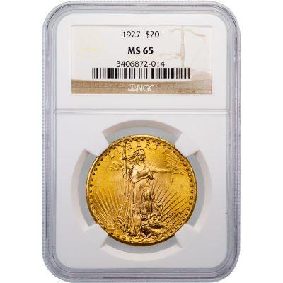 1927-P Saint-Gaudens Gold Double Eagle MS65