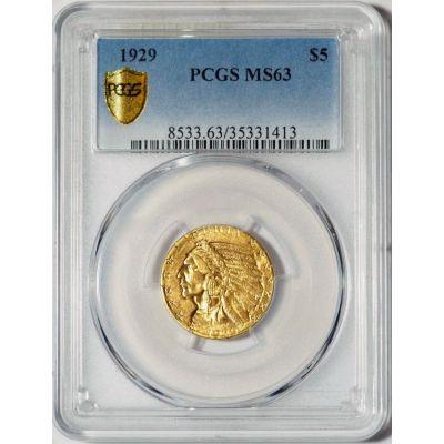 1929-P Indian Head Gold Half Eagle MS63