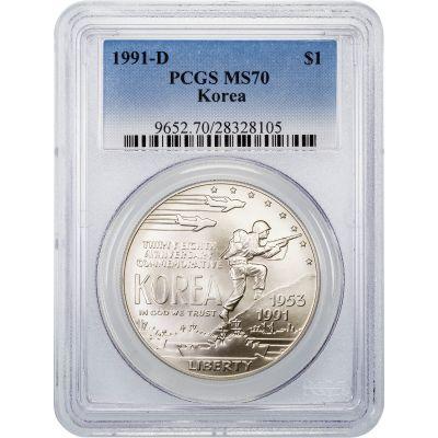 1991-D Korea Commemorative Silver Dollar MS70