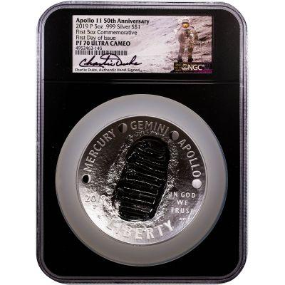 2019-P 5oz Silver Apollo 11 Commemorative Dollar FDOI PF70 Ultra Cameo
