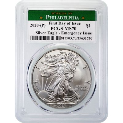 "2020(P) American Silver Eagle PCGS MS70 First Day of Issue ""Emergency Issue"""