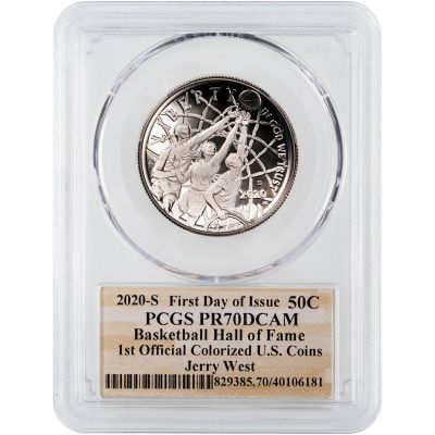 2020-S Jerry West Colorized Silver Basketball Commemorative Half Dollar FDI PCGS PF70DCAM