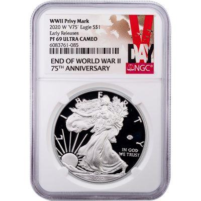 2020-W WWII 75th Anniversary Privy American Silver Eagle PF69UCAM V-Day Label