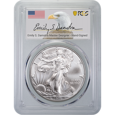 2021 Type 2 American Silver Eagle PCGS MS70 First Strike Emily Damstra Label (Presale)