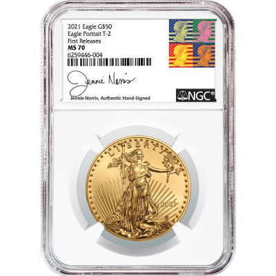 $50 2021-W Type 2 1oz American Gold Eagle NGC MS70 First Releases Jennie Norris Signed Label