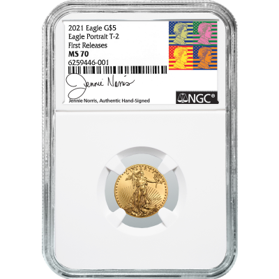 $5 2021-W Type 2 1/10oz American Gold Eagle NGC MS70 First Releases Jennie Norris Signed Label