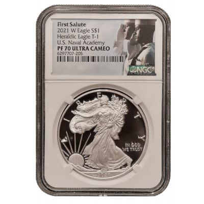 2021-W Type 1 American Silver Eagle NGC PF70 UCAM First Salute U.S. Navy